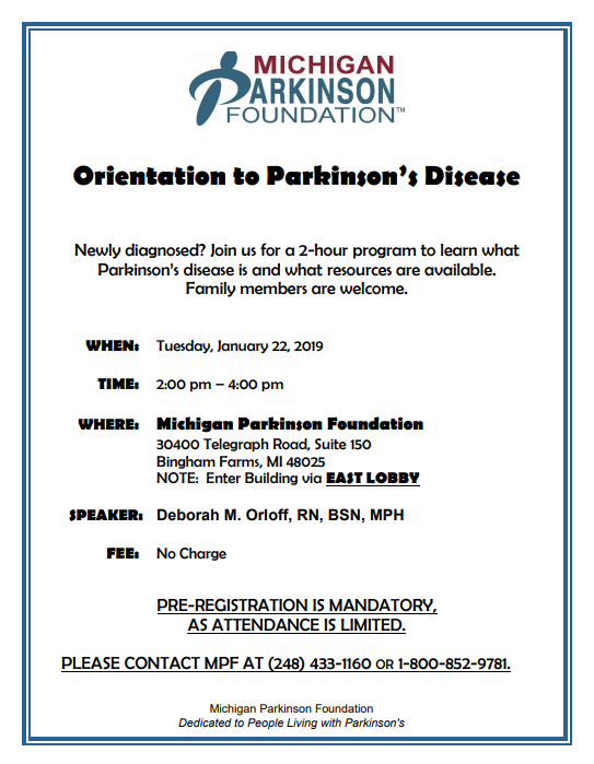 Orientation to Parkinsons January 22 2019