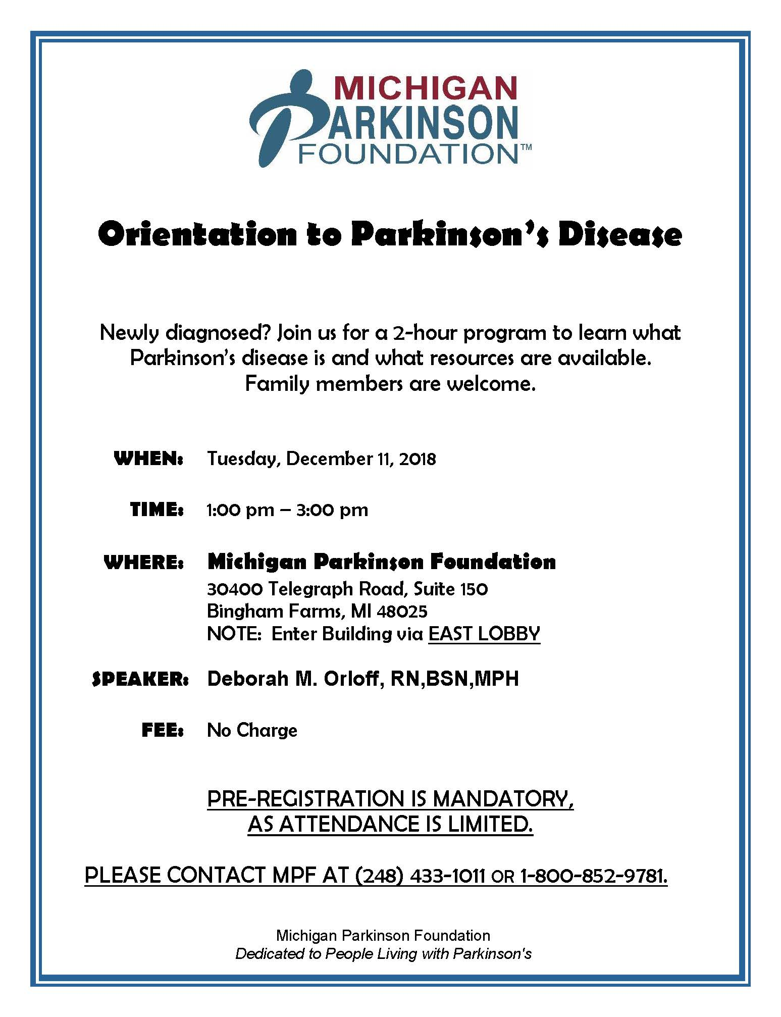 Orientation to Parkinsons December 11 2018